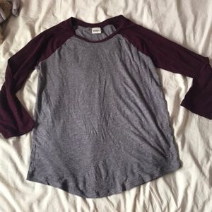 Victoria's Secret PINK grey and maroon top